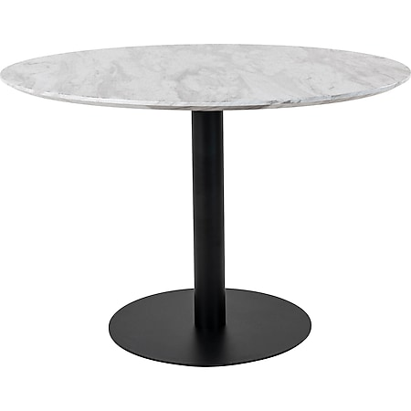 Bologna Esstisch Ø110cm Marmoroptik schwarze Beine weiß Esszimmer Tisch rund - Bild 1