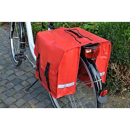 Fahrrad Gepäckträger Doppeltasche LKW-Plane wasserdicht 2x 12L Fahrradtasche rot - Bild 1
