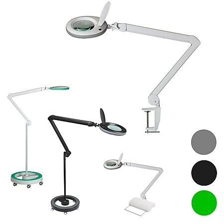 Lumeno 7213/15/18GR Lupenleuchte Lupenlampe Arbeitsplatzlampe 96 LEDs, grauer Gummischutz Farbe: Grün, Größe: 5 mit Rollstativ - Bild 1