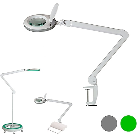 Lumeno 7213/15/18GR Lupenleuchte Lupenlampe Arbeitsplatzlampe 96 LEDs, grauer Gummischutz Farbe: Grün, Größe: 8 mit Rollstativ - Bild 1