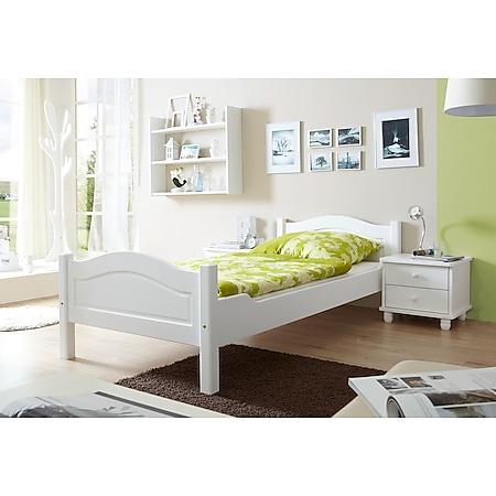 TiCAA Massivholz Einzelbett Rita Kiefer Weiß TiCAA Massivholz Einzelbett Rita Kiefer Weiß - Bild 1