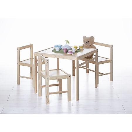 TiCAA Kindersitzgruppe Kindertisch 4 teilig Kiefer massiv - Bild 1