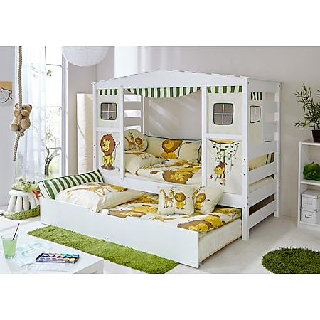 """TiCAA Hausbett mit Bettkasten """"Safari"""" Kiefer Weiß TiCAA Hausbett mit Bettkasten """"Safari"""" Kiefer Weiß - Bild 1"""