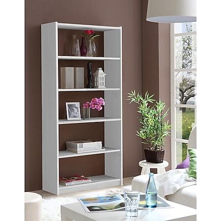 TiCAA Standregal Bücherregal Kiefer Weiß, verschied. Größen - Bild 1