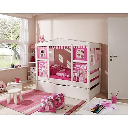 """TiCAA Hausbett Mini mit Bettkasten """"Horse Pink"""" Kiefer Weiß - Bild 1"""
