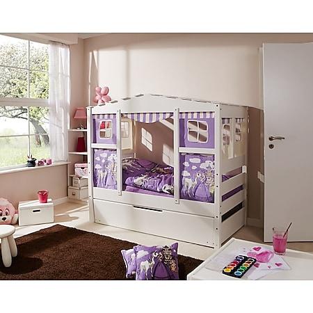 """TiCAA Hausbett Mini mit Bettkasten """"Horse Lila"""" Kiefer Weiß - Bild 1"""