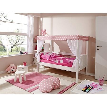 """TiCAA Himmelbett Mini mit Bettkasten """"Stern Rosa"""" Kiefer Weiß - Bild 1"""
