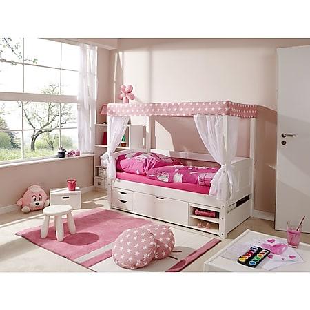 """TiCAA Himmelbett Mini mit Bettkasten """"Stern Rosa"""" Kiefer Weiß TiCAA Himmelbett Mini mit Bettkasten """"Stern Rosa"""" Kiefer Weiß - Bild 1"""