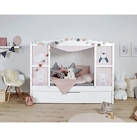 """TiCAA Hausbett mit Bettkasten """"Amelie"""" Kiefer Weiß - Bild 1"""