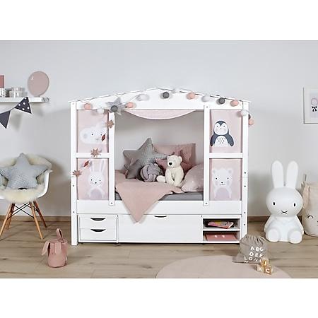 """TiCAA Hausbett Mini mit Bettkasten """"Amelie"""" Kiefer Weiß - Bild 1"""