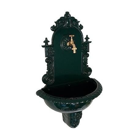 DEGAMO Wandbrunnen TIROL aus Aluguss mit Wasserhahn, dunkelgrün - Bild 1