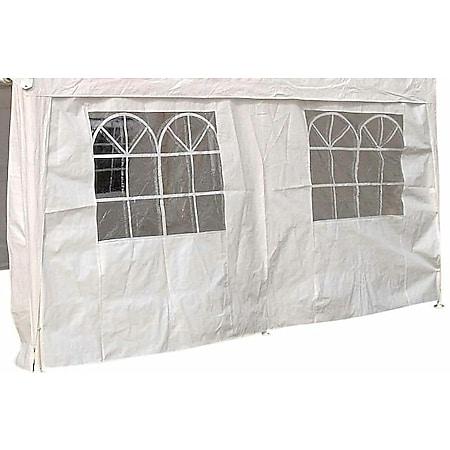 DEGAMO Seitenplane für Partyzelt, Länge 4 Meter, PE weiß mit Fenstern - Bild 1