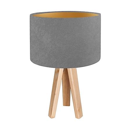 Tischleuchte Tischlampe Jalua T Velours grey & gold mit Dreibein aus Holz H: 47cm 10753 - Bild 1