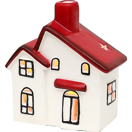 SIGRO Windlichthaus weiß-rot glasiert - Bild 1