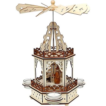SIGRO Holz Teelichtpyramide 2 Etagen Heilige Familie - Bild 1