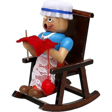 SIGRO Holz Räucherfrau Oma im Schaukelstuhl - Bild 1