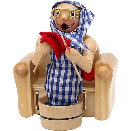 SIGRO Holz Räucherfrau Oma im Sessel mit Fußbad - Bild 1