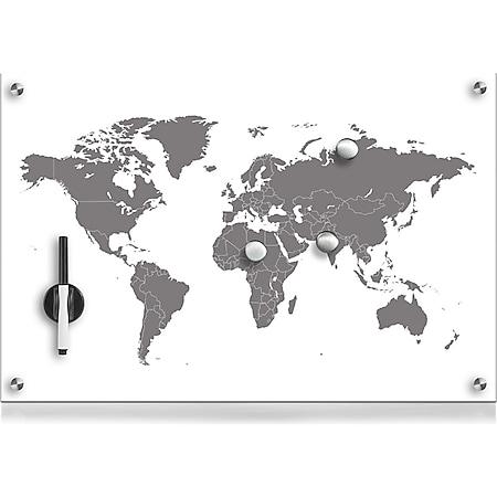 HTI-Living Memoboard Glas rechteckig Worldmap - Bild 1