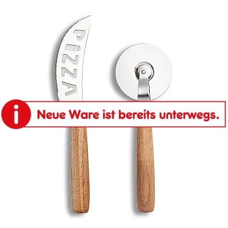 neuetischkultur Pizza-Schneide-Set, 2-teilig Akazie, Edelstahl - Bild 1