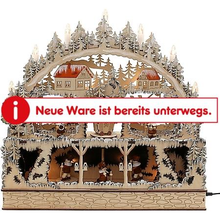 SIGRO Holz Schwibbogen mit Bank Bergwerk - Bild 1