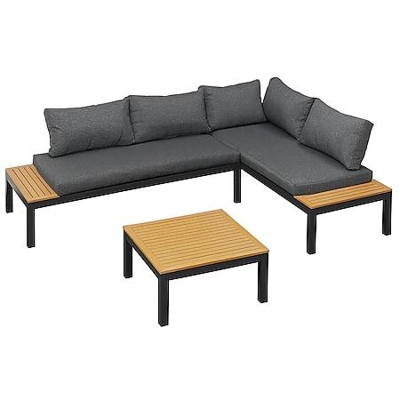 Gartenfreude Lounges Aluminium Sitzgarnitur Ambience mit WPC-Streben - Bild 1