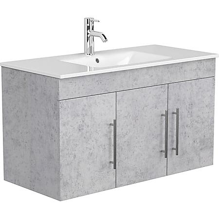 Posseik Badmöbel Teramo Beton Waschtisch Waschbecken - Bild 1