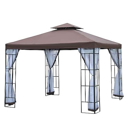 Outsunny Gartenpavillon mit Doppeldach kaffeebraun, weiß, schwarz 300 x 300 x 270 cm (LxBxH)   Luxus Pavillon Partyzelt Festzelt Gartenzelt - Bild 1