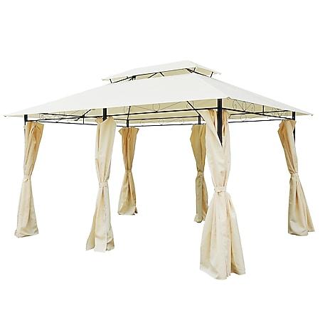 Outsunny Gartenpavillon mit Doppeldach milchweiß, schwarz 400 x 300 x 265 cm (LxBxH) | Gartenpavillon Partyzelt Festzelt Luxus Pavillon - Bild 1