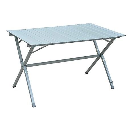 Outsunny Klapptisch mit Tragetasche silber, weiß 116 x 70 x 69 cm (LxBxH) | Rolltisch Universaltisch Campingtisch Gartentisch - Bild 1