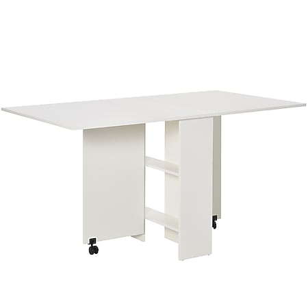 HOMCOM Klapptisch mit praktischer Kofferfunktion weiß 140 x 80 x 74 cm (LxBxH)   Beistelltisch Schreibtisch Ablagefläche Tisch - Bild 1