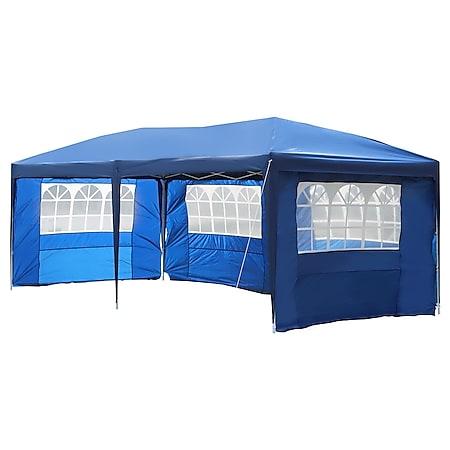 Outsunny Faltpavillon inklusive 4 Seitenteile blau, weiß, transparent ca. 600 x 300 x 255cm (LxBxH) | Faltzelt Gartenzelt Partyzelt Pavillon Bierzelt - Bild 1