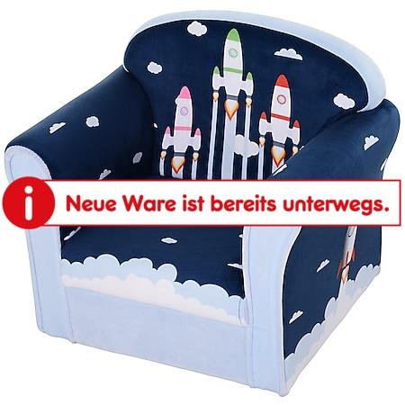 HOMCOM Kindersessel mit Raketenmotiv blau 50 x 39 x 44 cm (BxTxH) | Minisessel Polstersessel für Kinder Kindermöbel - Bild 1