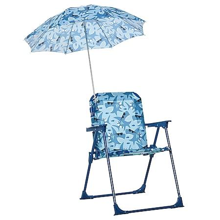 Outsunny Kinder-Campingstuhl mit Sonnenschirm blau 39 x 39 x 52 cm(LxBxH)   mit Sonnenschirm Kinder-Strandstuhl Klappstuhl für 1-3 Jahre - Bild 1