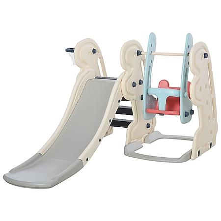HOMCOM 3-in-1-Kinderrutsche mit Schaukel und Basketballkorb weiß, blau, grau 220 x 160 x 120 cm (LxBxH) | Babyrutsche Babyschaukel Gartenrutsche Schaukel - Bild 1