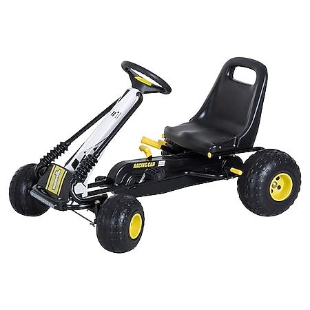 HOMCOM Go Kart mit Handbremse schwarz 95 x 66,5 x 57 cm (LxBxH)   Tretauto Tretfahrzeug Kinderfahrzeug Spielzeug - Bild 1
