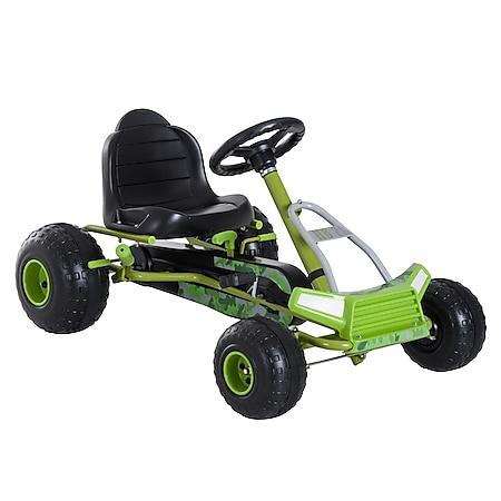 HOMCOM Tretauto mit Handbremse grün 95 x 66,5 x 57 cm (LxBxH)   Go Kart Tretfahrzeug Kinderfahrzeug Spielzeug - Bild 1
