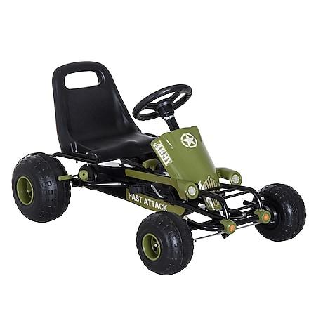 HOMCOM Kinder Tretauto mit Handbremse grün 99 x 65 x 56 cm (LxBxH)   Go Kart Tretfahrzeug Kinderfahrzeug Spielzeug - Bild 1