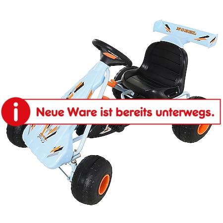 HOMCOM Kinder Go-Kart mit Handbremse hellbau 97 x 66 x 59 cm (LxBxH)   Kinderfahrzeug Pedalfahrzeug Tretfahrzeug - Bild 1