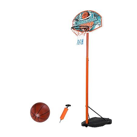 HOMCOM Basketballständer mit Ball mehrfarbig 66 x 10 x 180-230 cm (LxBxH)   Basketballkorb einstellbarer Ständer Kinderspielzeug - Bild 1