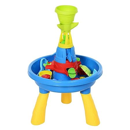 HOMCOM Kinder Sandkastentisch mit 21-tlg. Zubehör blau, gelb 46 x 46 x 72 cm   Sandspielzeug Kinderspieltisch Strandspielzeug - Bild 1