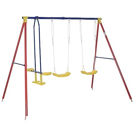Outsunny Kinderschaukel mit 2 Schaukeln und einer Wippe bunt 290 x 180 x 196 cm(LxBxH) | Schaukelgerüst Kids Schaukelset mit Metallgestell - Bild 1