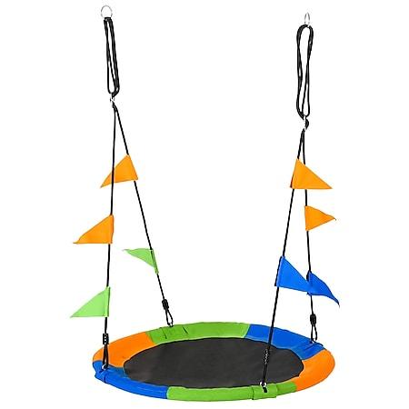 Outsunny Nestschaukel für Innen und Außen mehrfarbig 100 x 100 x 180 cm(LxBxH)   Kinderschaukel Gartenschaukel Kids Tellerschaukel - Bild 1