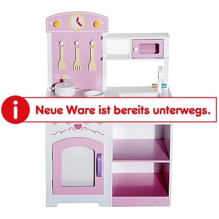 HOMCOM Kinderküche mit Zubehör rosa 60 x 35 x 87 cm (LxBxH) | Spielzeugküche Spielzeug Holzküche für Kinder - Bild 1