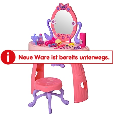 HOMCOM Kinderschminktisch mit Hocker rosa 49,5 x 23,5 x 69,5 cm (BxTxH)   Schöhnheitsstudio für Mädchen Kinder Frisiertisch - Bild 1