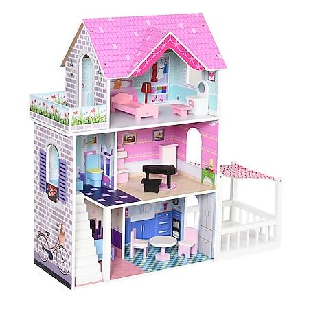 HOMCOM Puppenhaus mit 3 Etagen rosa 86 x 30 x 87 cm (BxTxH)   Barbiehaus Puppenstube Puppenhaus Holz Puppenvilla - Bild 1