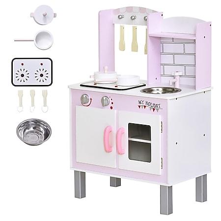 HOMCOM Kinderspielküche mit Zubehör rosa 55 x 30 x 80 cm (BxTxH) | Spielküche Kinderküche Kinderzimmer Lernspielzeug - Bild 1