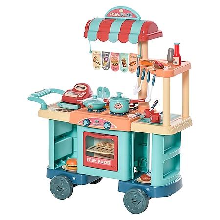 HOMCOM Spielküche mit  Zubehör blau, rot, orange 79,5 x 33 x 90,5 cm (BxTxH)   Spielzeugküche Kinderspielküche Spielzeug Spielküche - Bild 1