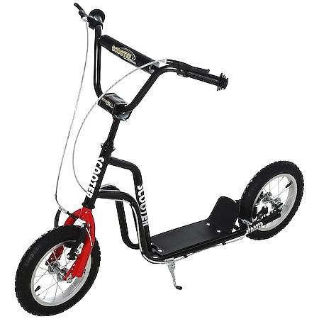 HOMCOM Kinderroller mit höhenverstellbaren Lenker schwarz 120 x 58 x 75-80 cm (BxTxH)   Tretroller Cityroller Kinder Roller Scooter - Bild 1