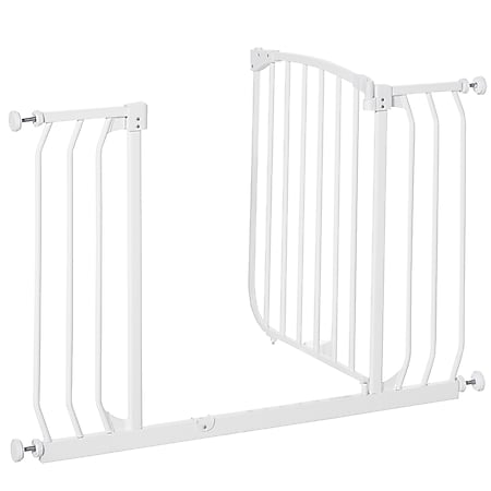 HOMCOM Treppenschutzgitter verstellbar weiß 96 x 72,5 cm (BxH) | Treppenschutzgitter Absperrgitter Babygitter Schutzgitter - Bild 1