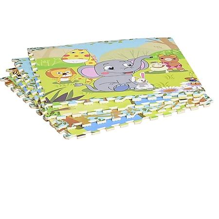HOMCOM Puzzlematte 16-teilig mehrfarbig (Tiere) 61,5 x 61,5 x 1 cm (LxBxH) | Matte Spielmatte Bodenschutzmatte Bodenmatte - Bild 1